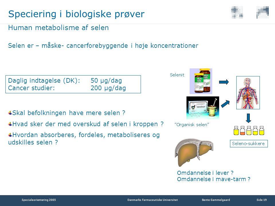 Speciering i biologiske prøver
