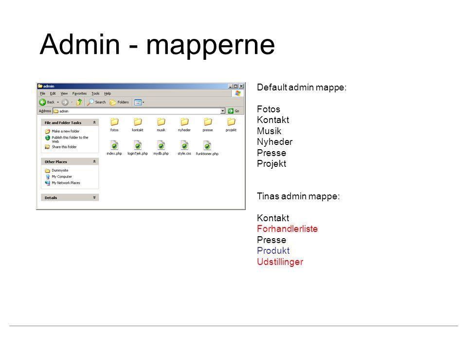 Admin - mapperne Default admin mappe: Fotos Kontakt Musik Nyheder