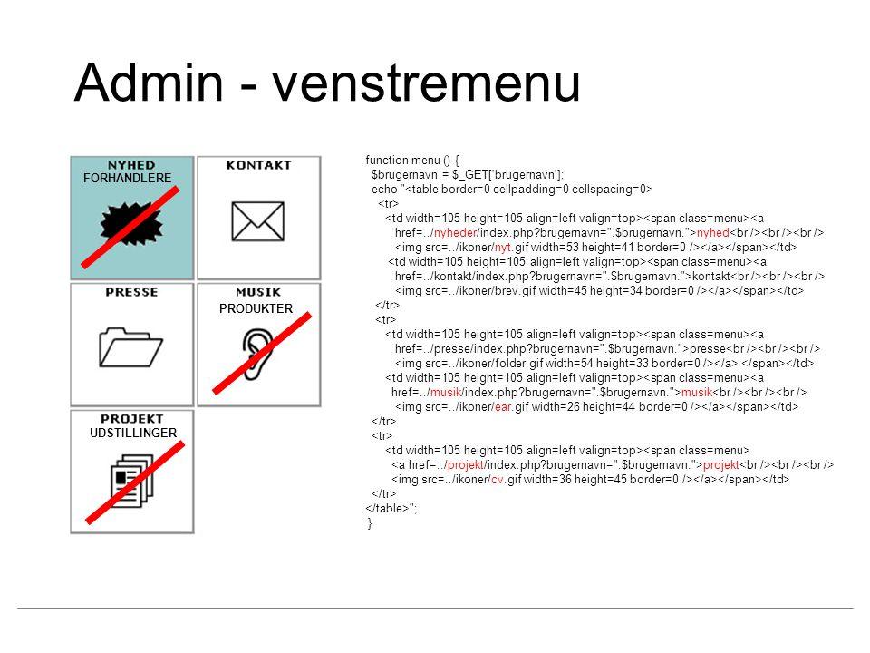 Admin - venstremenu function menu () {