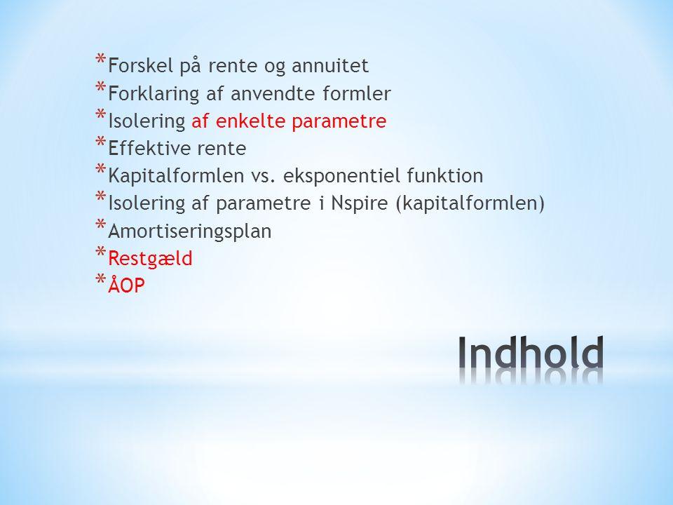 Indhold Forskel på rente og annuitet Forklaring af anvendte formler