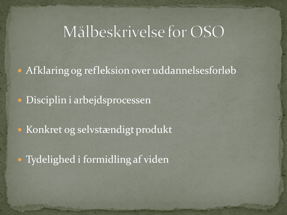 Målbeskrivelse for OSO