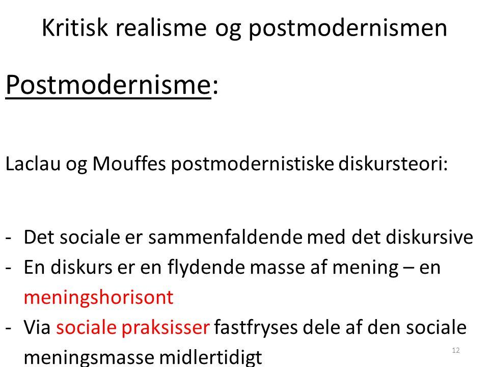 Kritisk realisme og postmodernismen