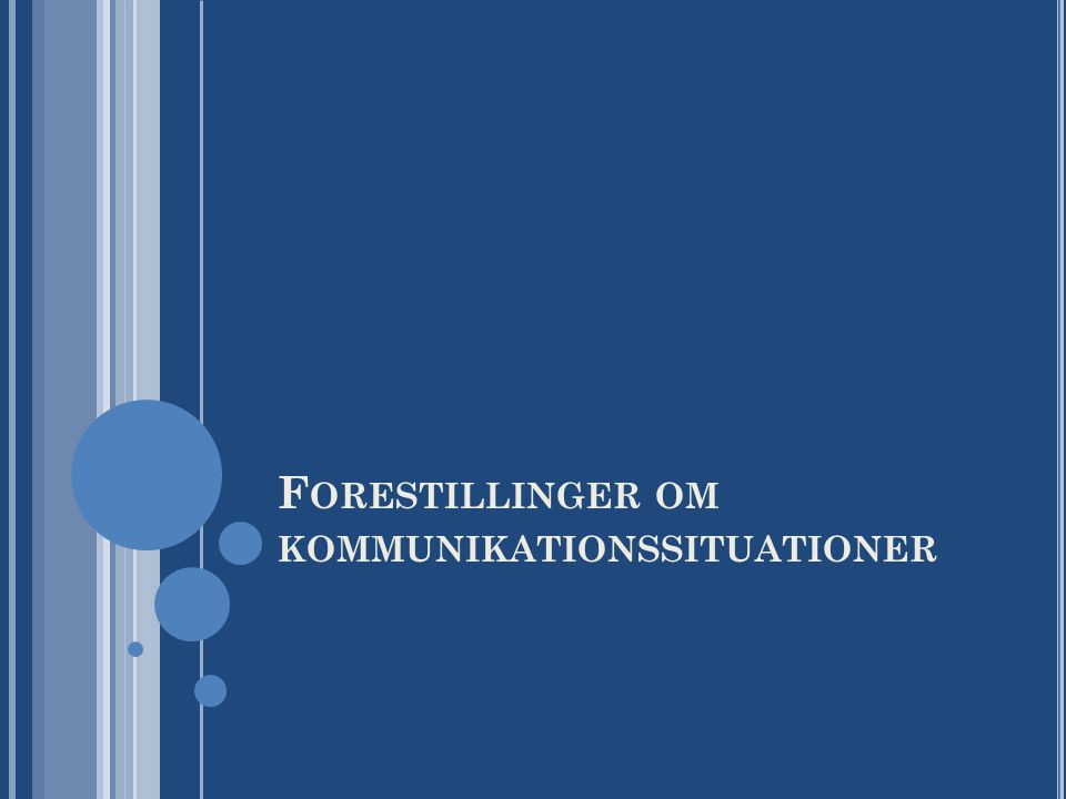 Forestillinger om kommunikationssituationer