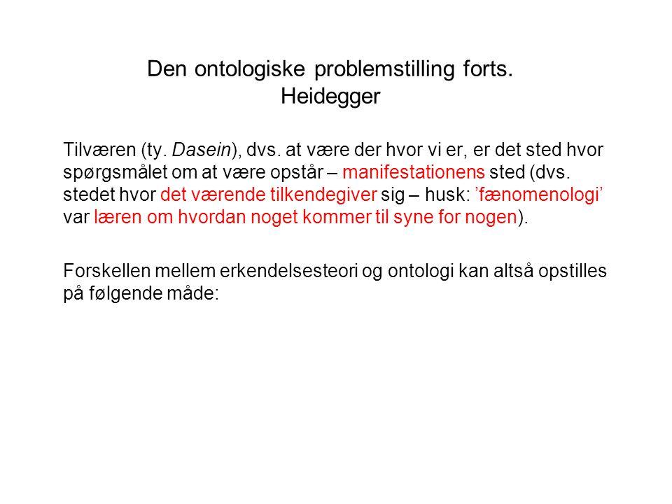 Den ontologiske problemstilling forts. Heidegger