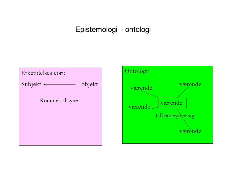 Epistemologi - ontologi