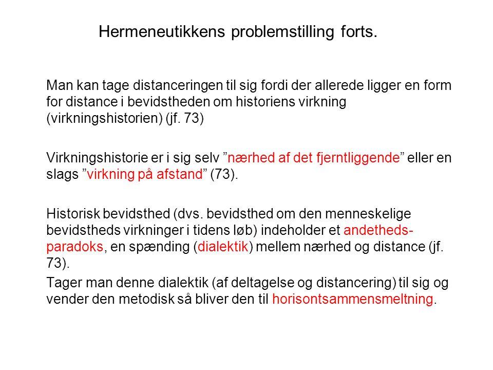 Hermeneutikkens problemstilling forts.