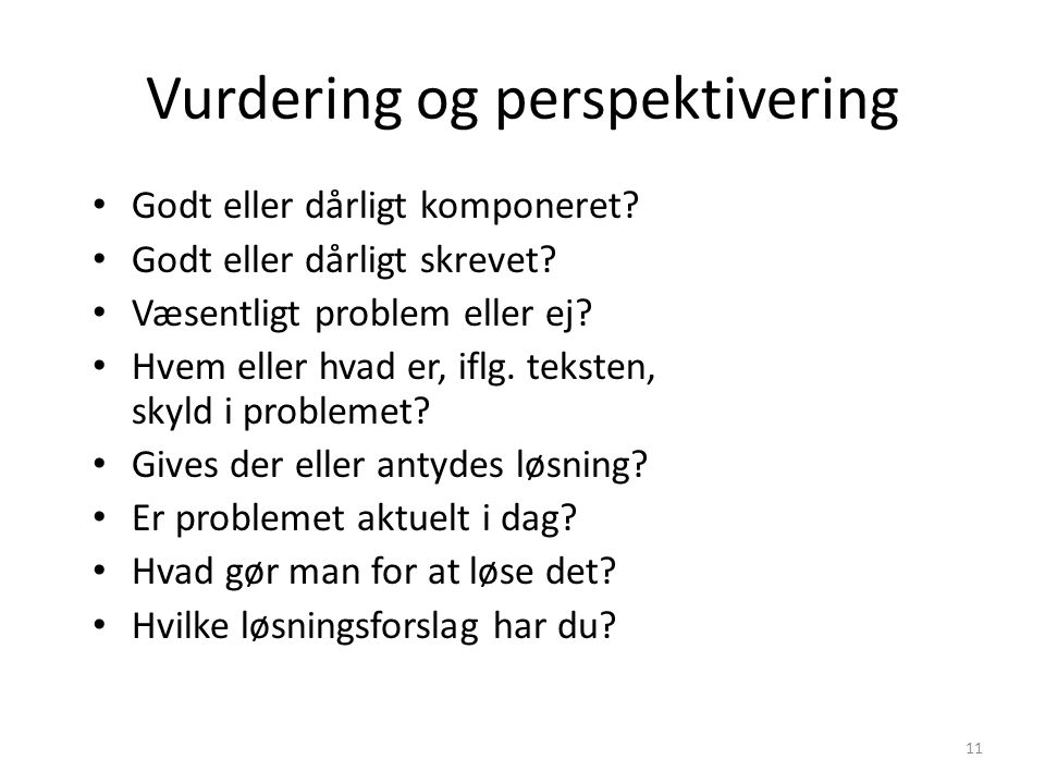 Vurdering og perspektivering