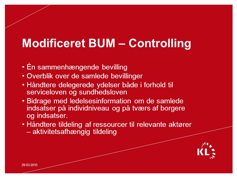 Modificeret BUM – Controlling