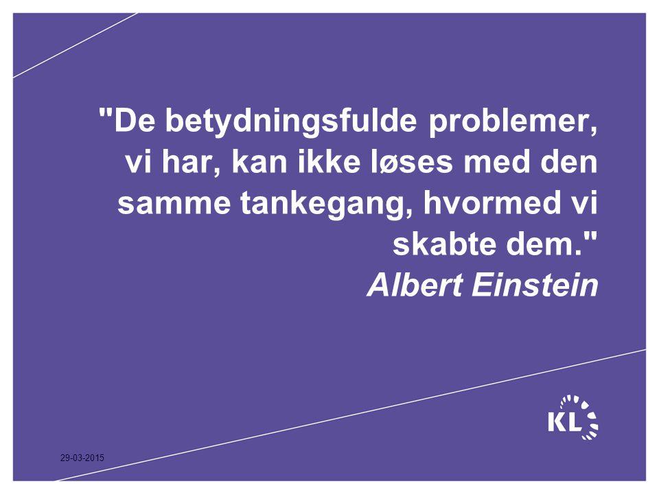 De betydningsfulde problemer, vi har, kan ikke løses med den samme tankegang, hvormed vi skabte dem. Albert Einstein