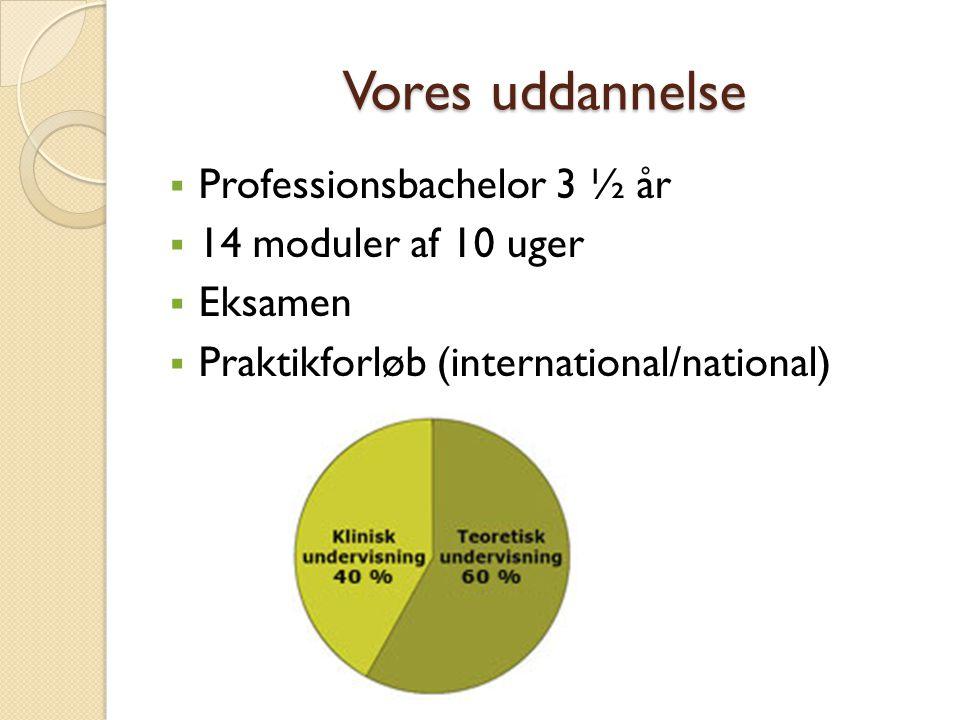 Vores uddannelse Professionsbachelor 3 ½ år 14 moduler af 10 uger