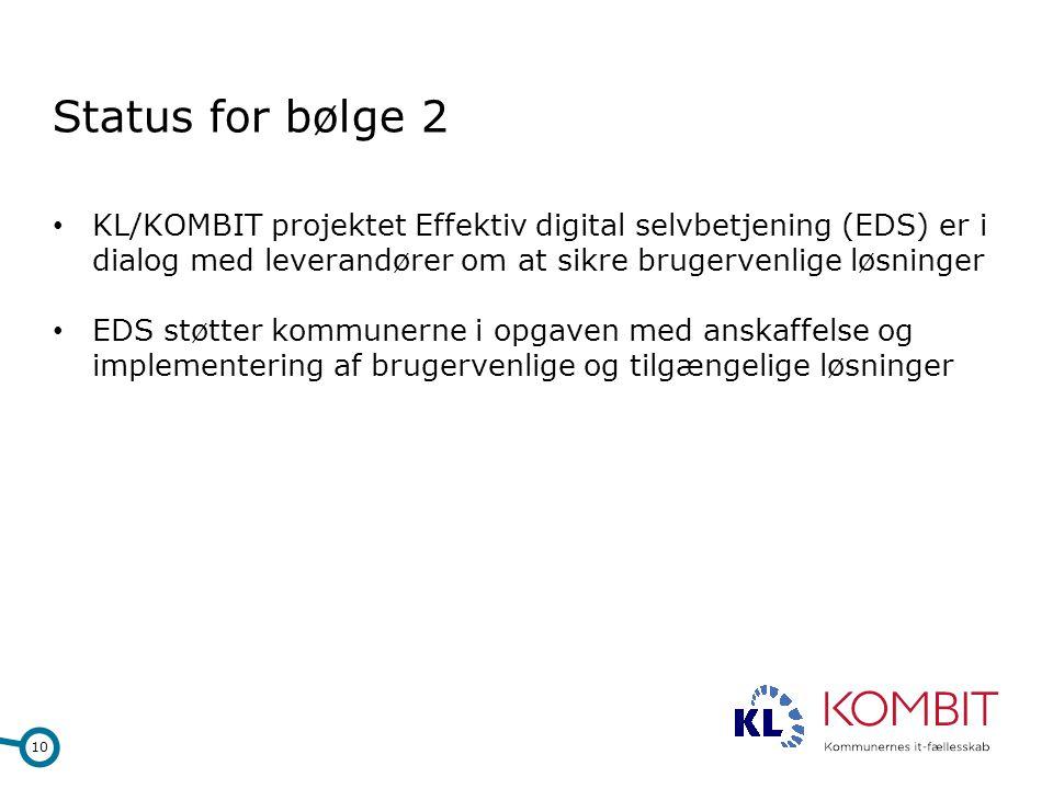 Status for bølge 2 KL/KOMBIT projektet Effektiv digital selvbetjening (EDS) er i dialog med leverandører om at sikre brugervenlige løsninger.