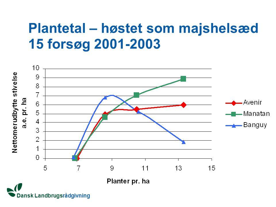 Plantetal – høstet som majshelsæd 15 forsøg 2001-2003