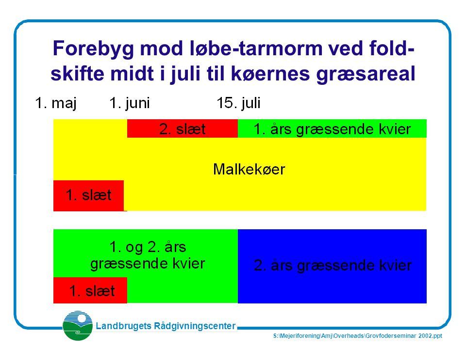 Forebyg mod løbe-tarmorm ved fold- skifte midt i juli til køernes græsareal