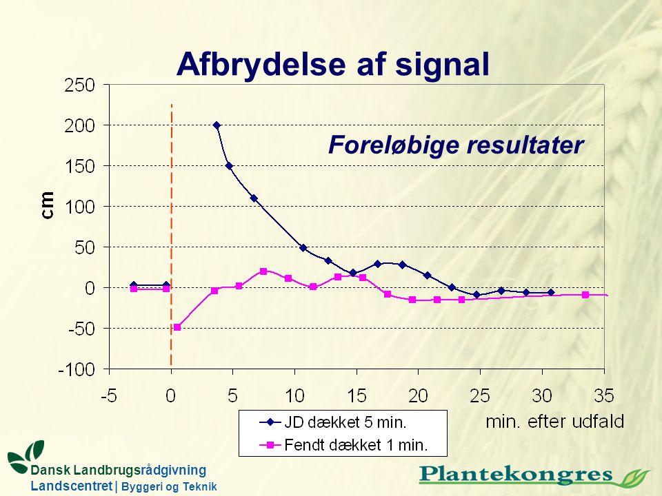 Afbrydelse af signal Foreløbige resultater