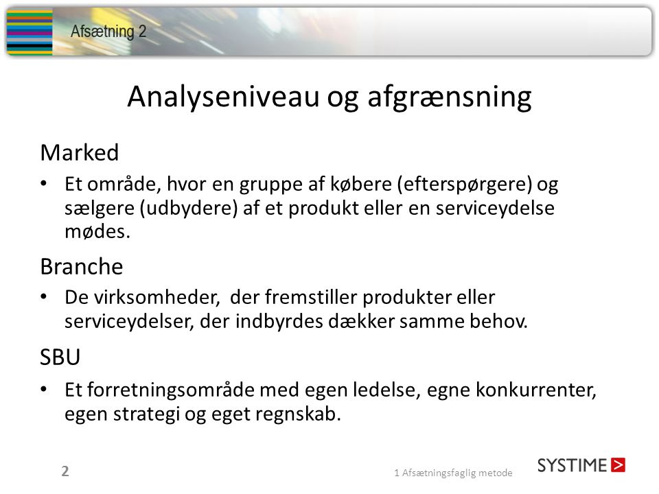 Analyseniveau og afgrænsning