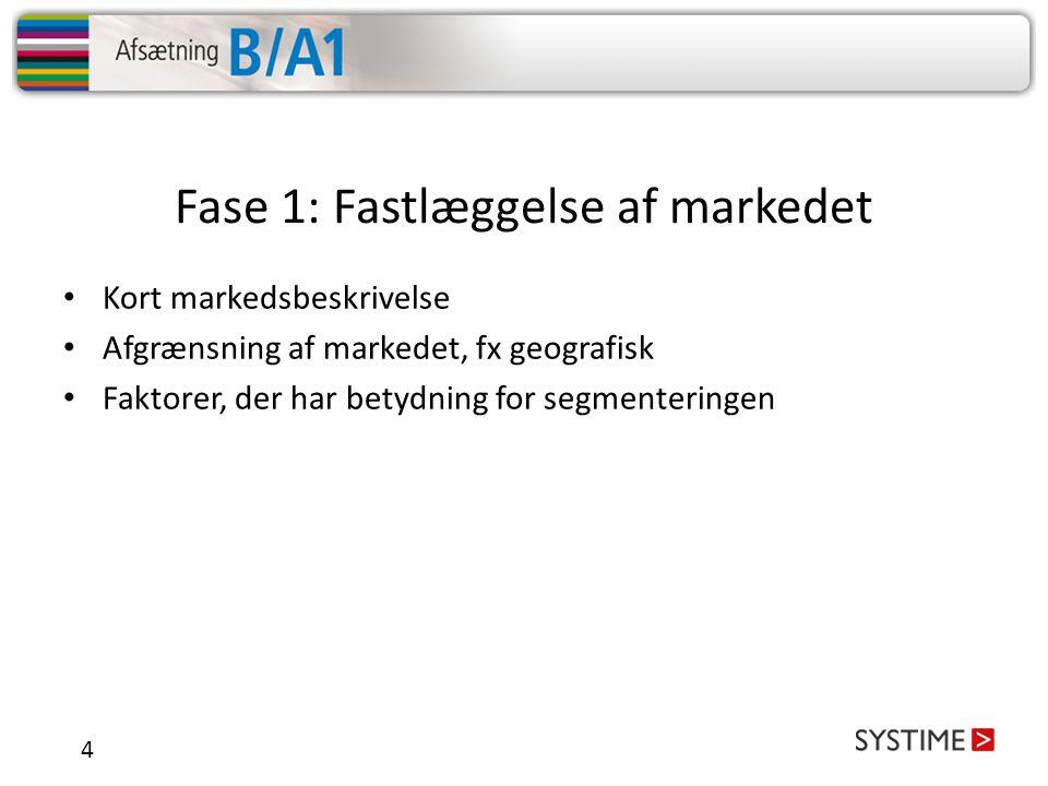Fase 1: Fastlæggelse af markedet