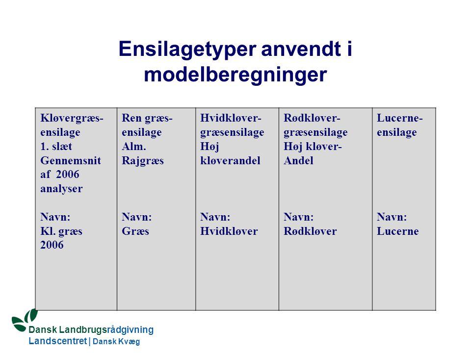 Ensilagetyper anvendt i modelberegninger