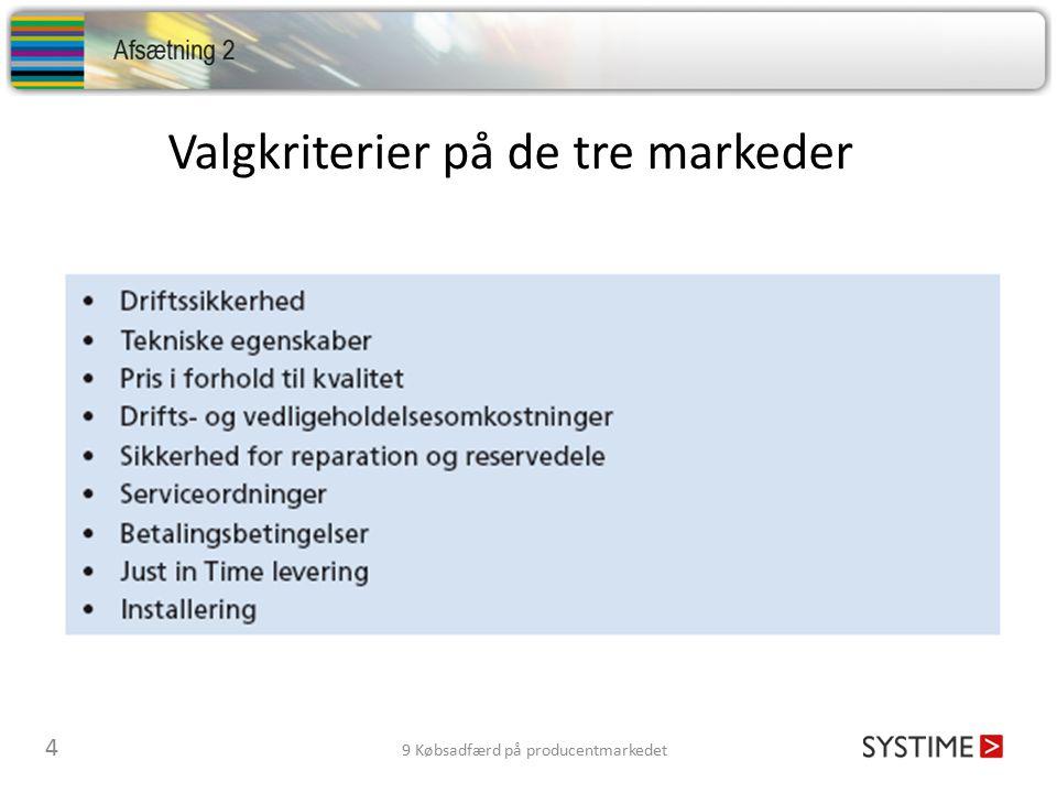 Valgkriterier på de tre markeder