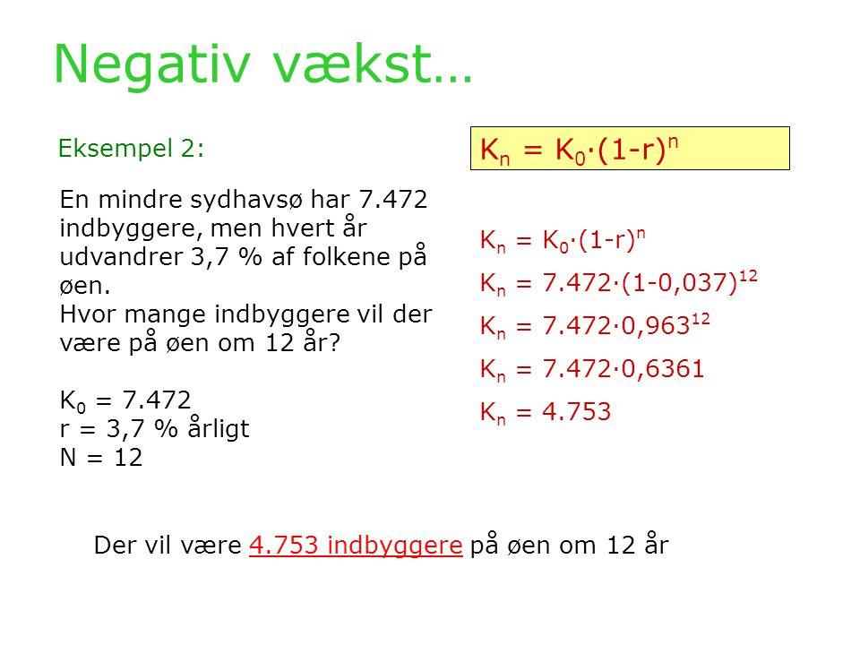 Negativ vækst… Kn = K0·(1-r)n Eksempel 2: