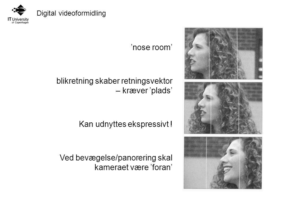 'nose room' blikretning skaber retningsvektor – kræver 'plads' Kan udnyttes ekspressivt .
