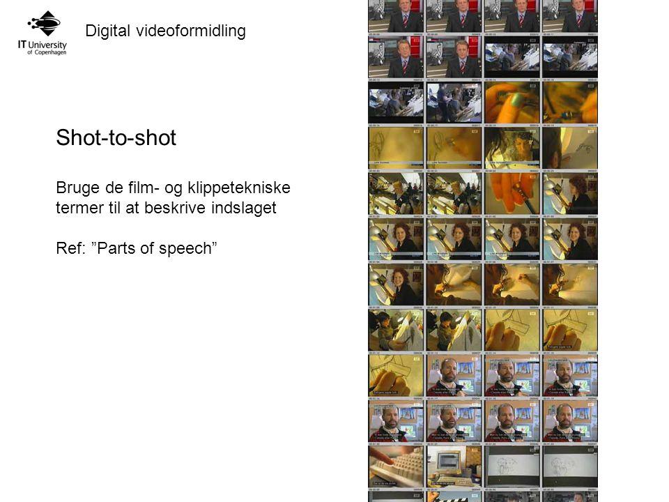 Shot-to-shot Bruge de film- og klippetekniske termer til at beskrive indslaget.