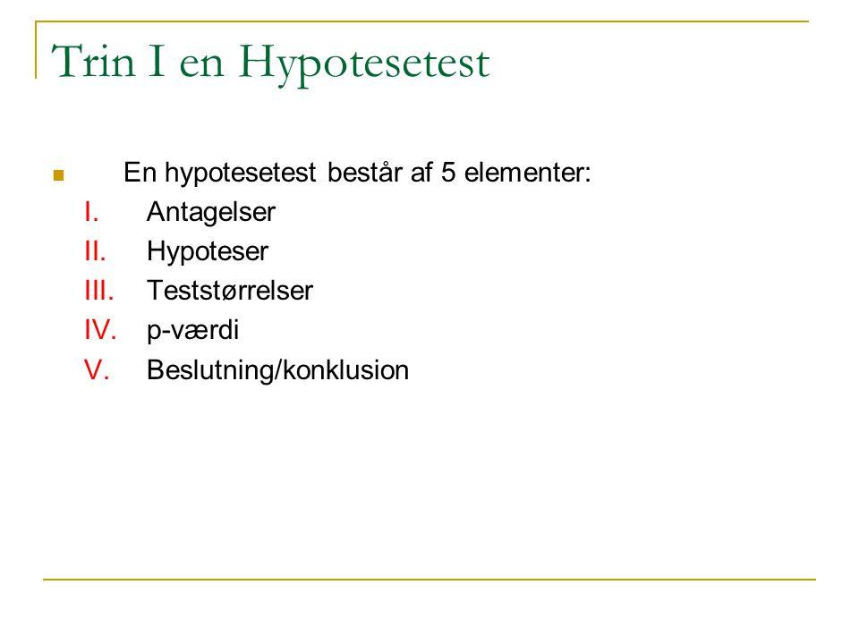 Trin I en Hypotesetest En hypotesetest består af 5 elementer: