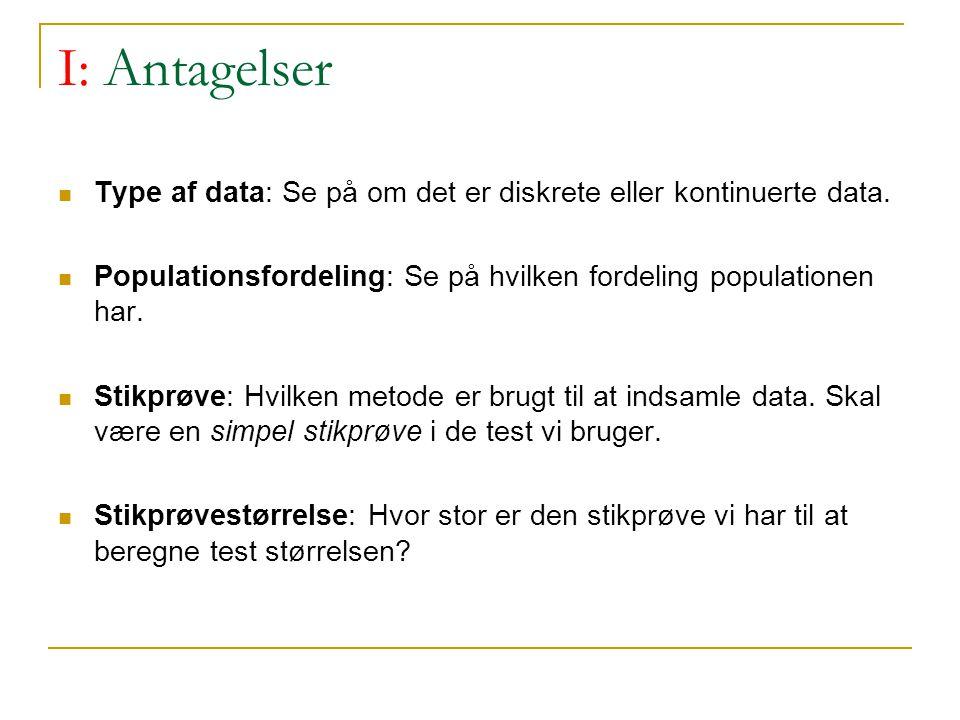 I: Antagelser Type af data: Se på om det er diskrete eller kontinuerte data. Populationsfordeling: Se på hvilken fordeling populationen har.