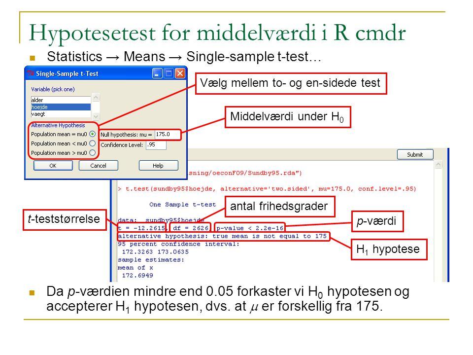 Hypotesetest for middelværdi i R cmdr