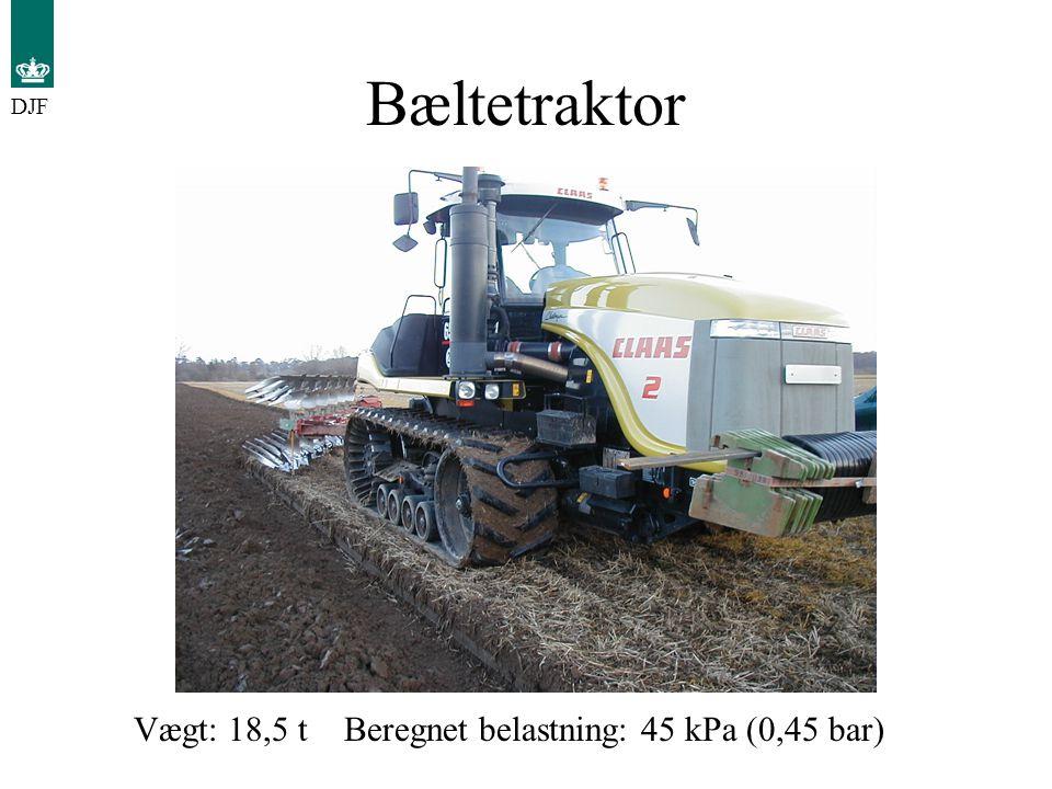 Bæltetraktor DJF Vægt: 18,5 t Beregnet belastning: 45 kPa (0,45 bar)