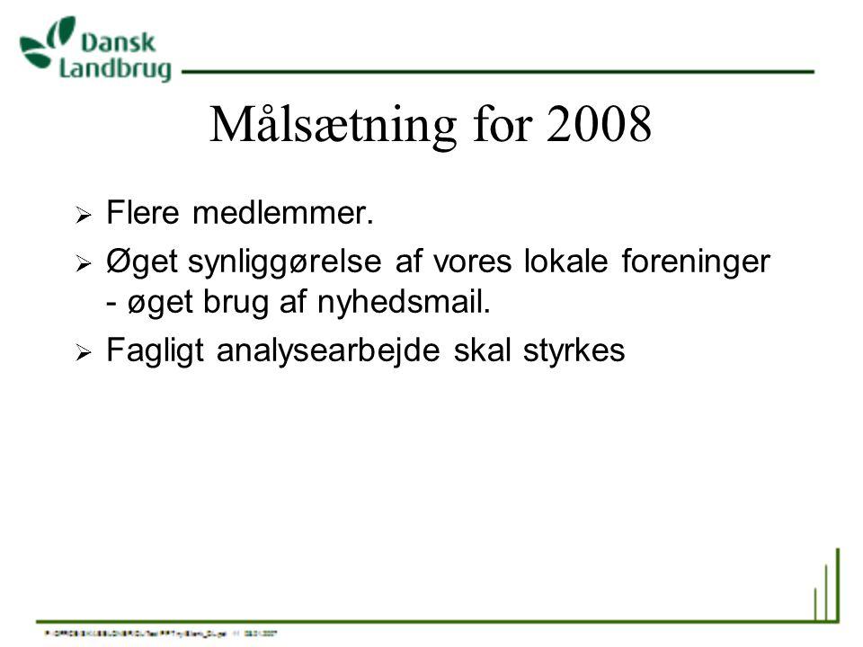 Målsætning for 2008 Flere medlemmer.