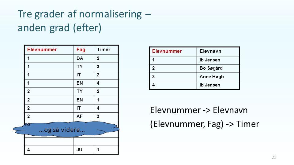 Tre grader af normalisering – anden grad (efter)