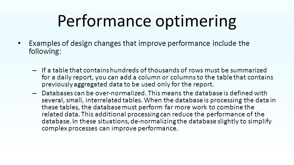 Performance optimering