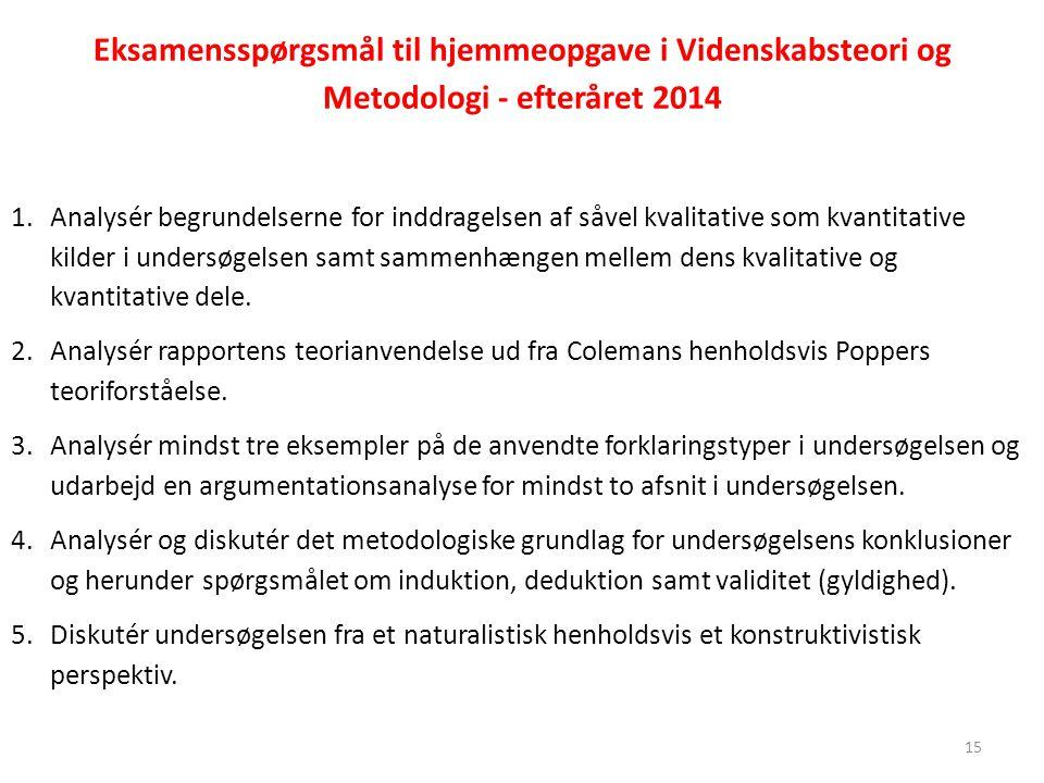 Eksamensspørgsmål til hjemmeopgave i Videnskabsteori og Metodologi - efteråret 2014