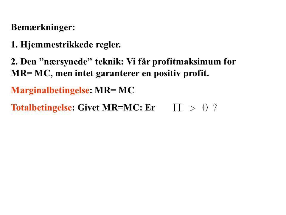 Bemærkninger: 1. Hjemmestrikkede regler. 2. Den nærsynede teknik: Vi får profitmaksimum for MR= MC, men intet garanterer en positiv profit.
