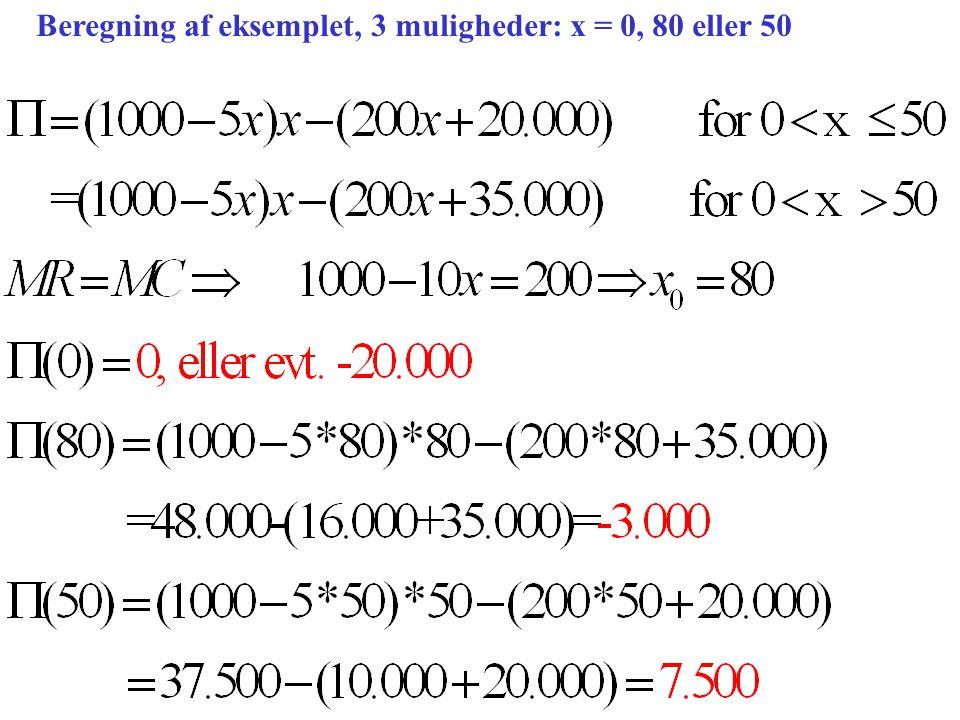 Beregning af eksemplet, 3 muligheder: x = 0, 80 eller 50