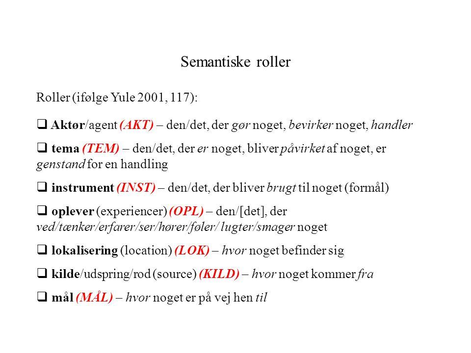 Semantiske roller Roller (ifølge Yule 2001, 117):