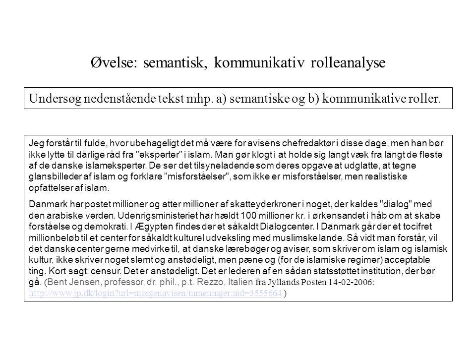 Øvelse: semantisk, kommunikativ rolleanalyse
