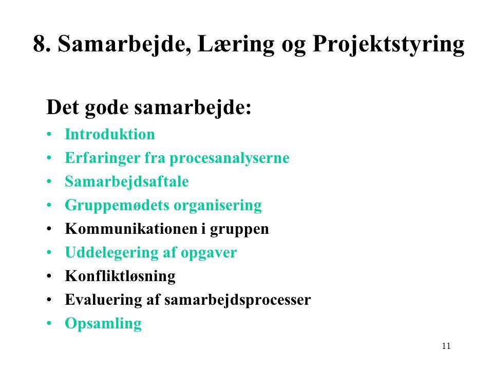 8. Samarbejde, Læring og Projektstyring