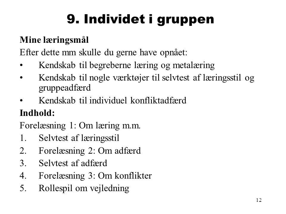 9. Individet i gruppen Mine læringsmål