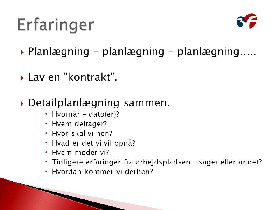 Erfaringer Planlægning – planlægning – planlægning…..
