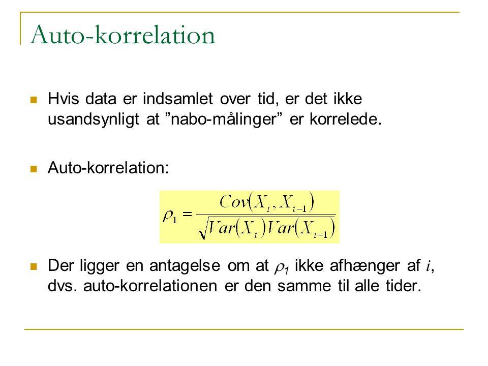 Auto-korrelation Hvis data er indsamlet over tid, er det ikke usandsynligt at nabo-målinger er korrelede.