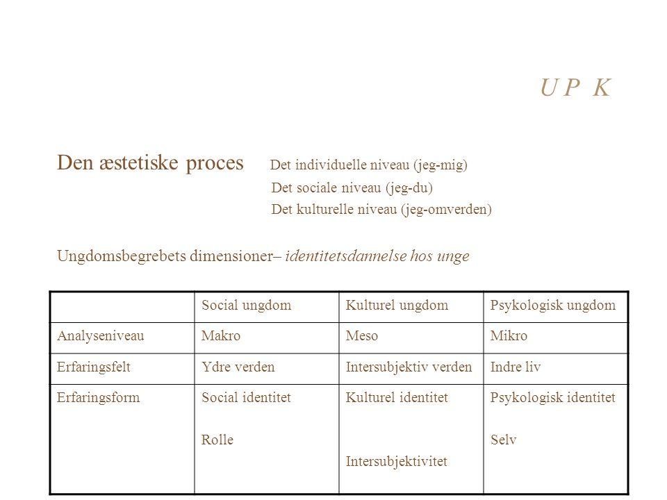 U P K Den æstetiske proces Det individuelle niveau (jeg-mig)