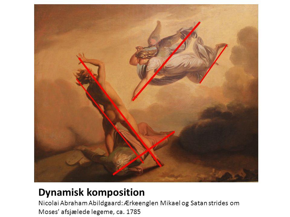 Dynamisk komposition Nicolai Abraham Abildgaard: Ærkeenglen Mikael og Satan strides om.