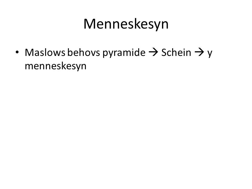 Menneskesyn Maslows behovs pyramide  Schein  y menneskesyn
