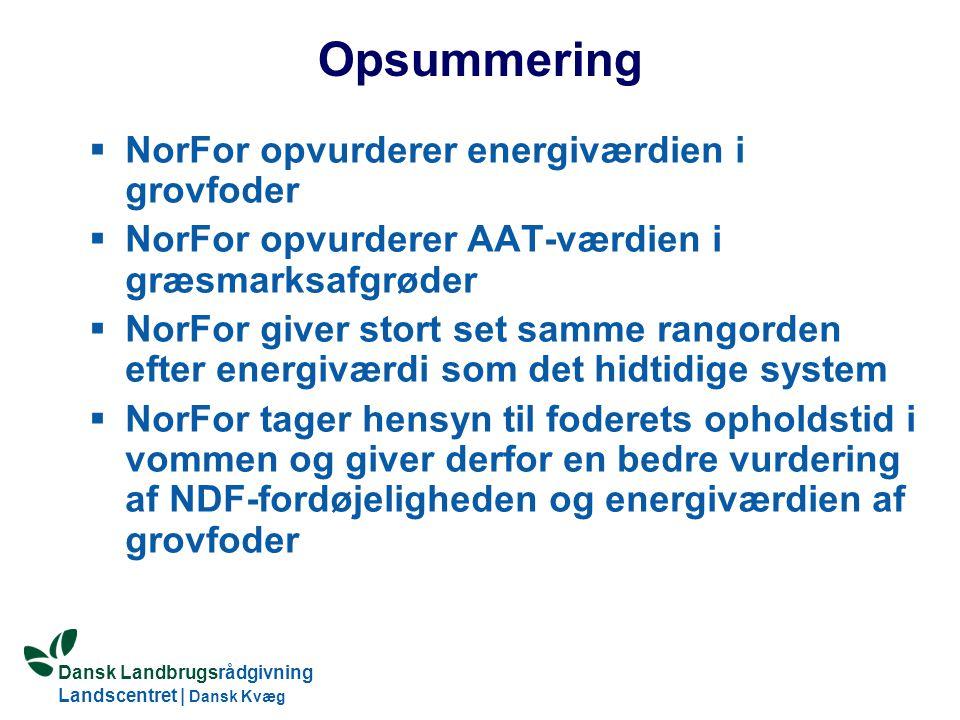 Opsummering NorFor opvurderer energiværdien i grovfoder