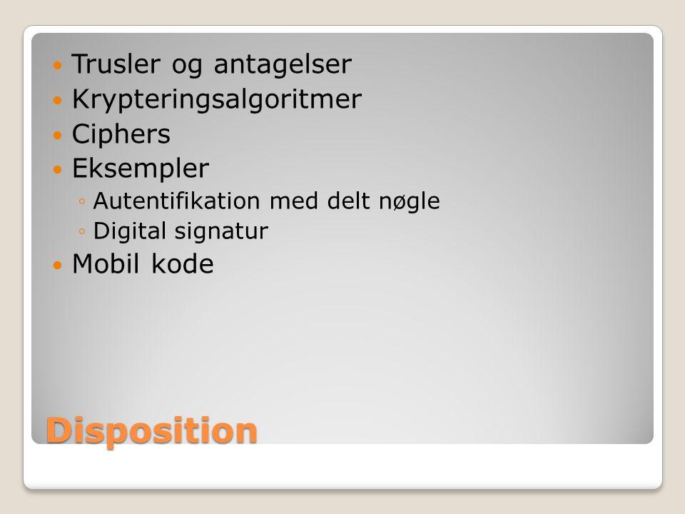 Disposition Trusler og antagelser Krypteringsalgoritmer Ciphers