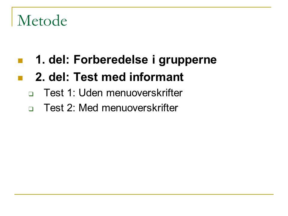 Metode 1. del: Forberedelse i grupperne 2. del: Test med informant