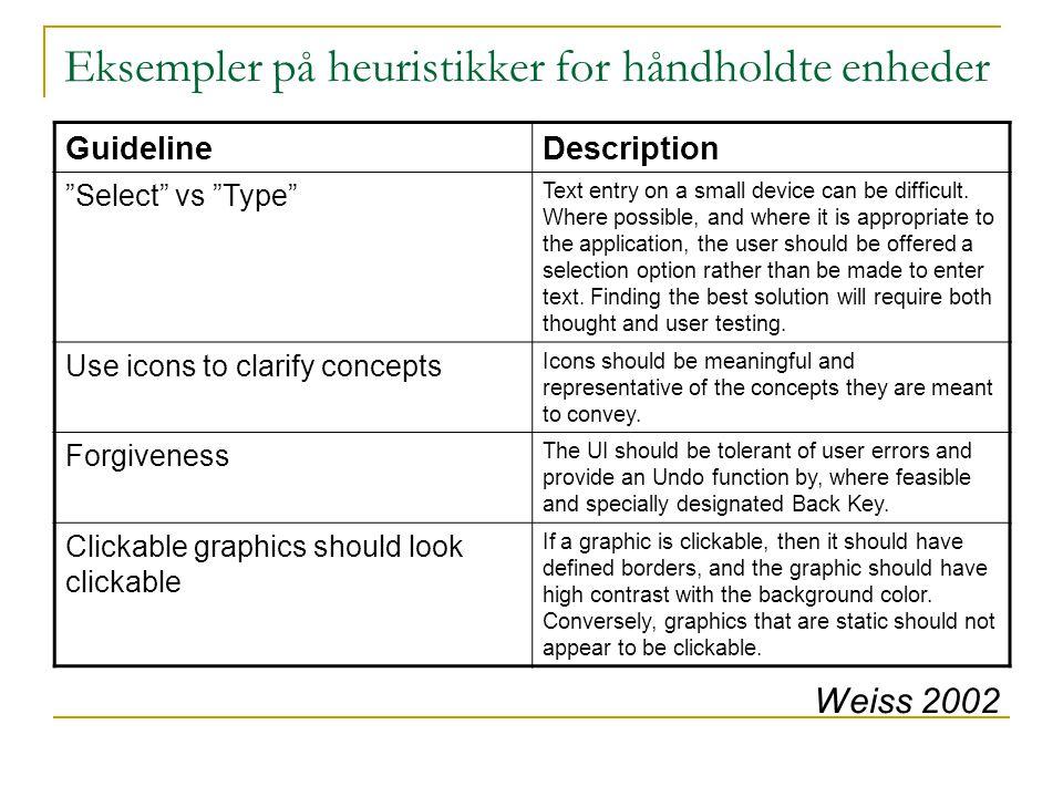 Eksempler på heuristikker for håndholdte enheder