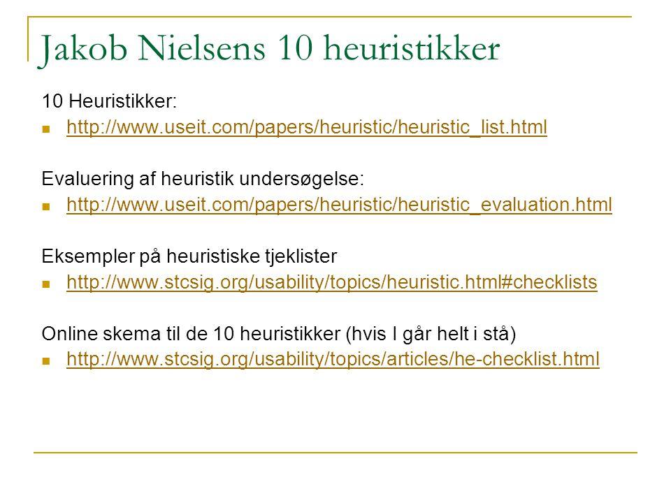 Jakob Nielsens 10 heuristikker