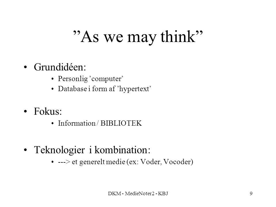As we may think Grundidéen: Fokus: Teknologier i kombination:
